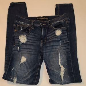 Express skinny distressed jeans stretch